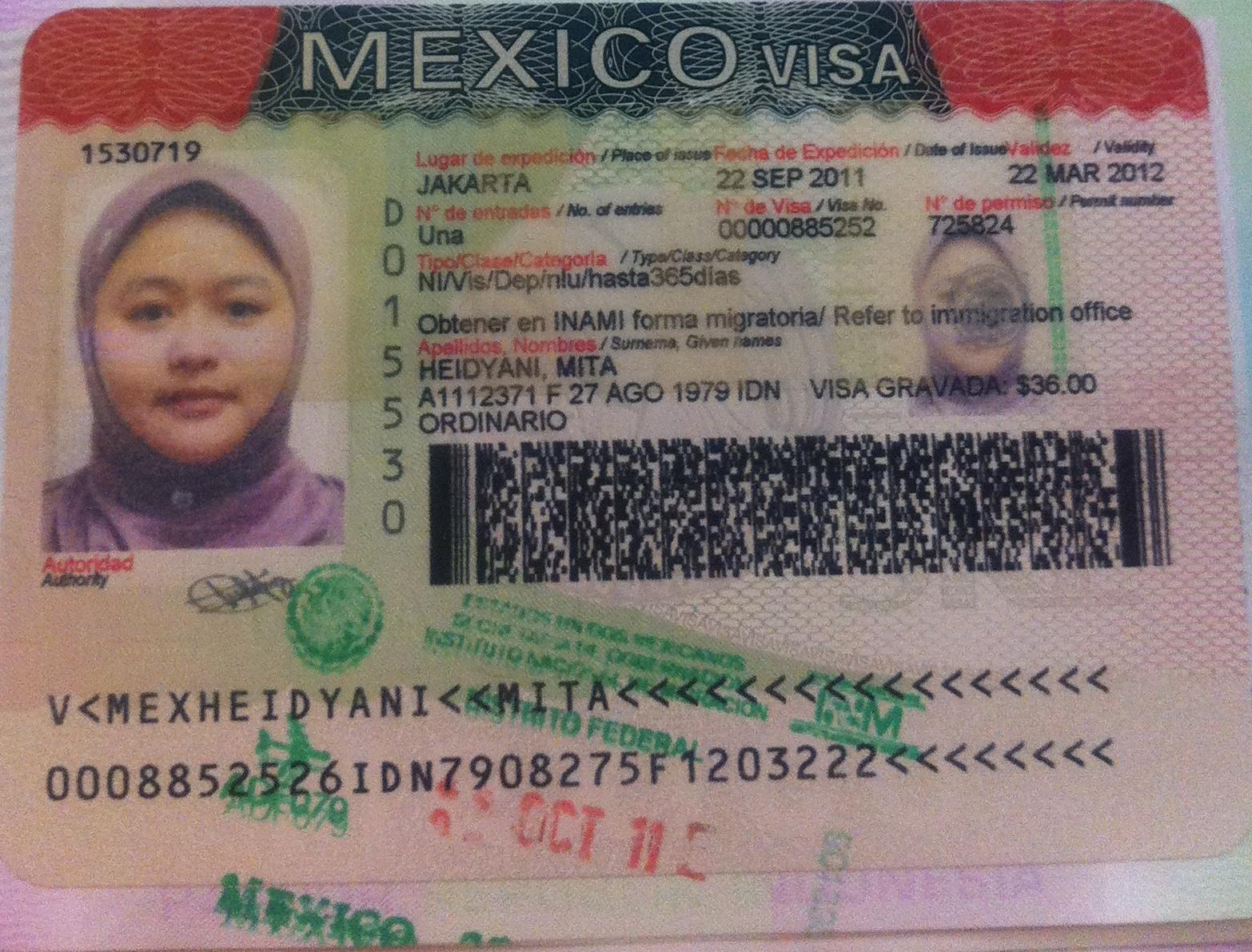 visa mexico: